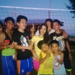 Aufbau des Volleyballfelds